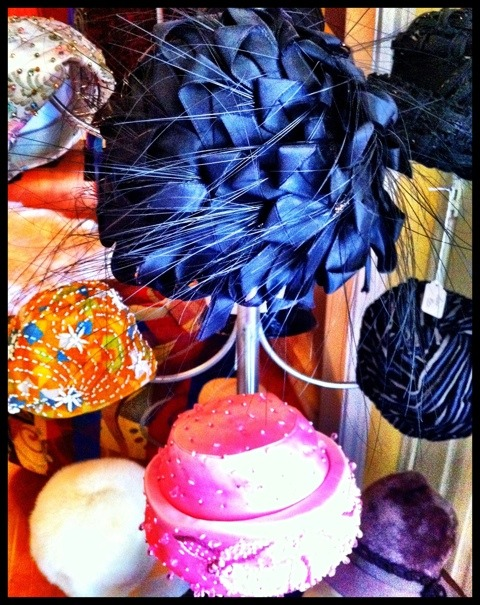 Feathered and embellished hats at Vintage Martini